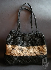 Plastic Black/Tan Handbag